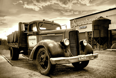 "I love this photo I took of Stranahan's Colorado Whiskey Truck and Distillery last spring. Rob Dietrich is the head distiller of Stranahan's Colorado Whiskey and this is his 1938 Dodge that John ""the Duke"" Wayne used to drive when he stayed in Aspen, Colorado.   Stranahan's may make posters if it someday. Tell 'em you want one! Or you can buy prints or a Giclee canvas from this website :)"