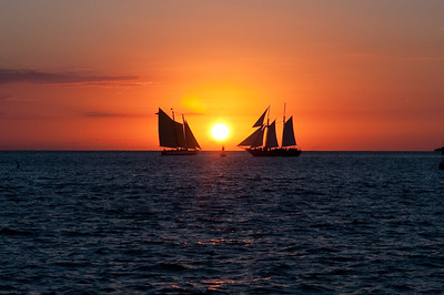 Two ships crossing in the Key West Sunset, Florida