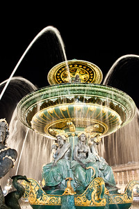 Beautiful fountain in Paris square, France