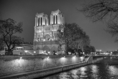Notre Dame along the Seine River March 2013, France