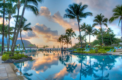 It was an epic sunset at Hanalei Bay at the St Regis pool :)  Kauai, Hawaii