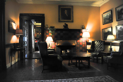 Unpretentious Lobby of Ballynahinch Castle know for it's Gold Water Fly fishing!