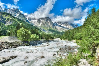 River Dora Baltea near Mont Blanc Italy