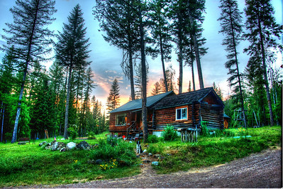 The Raible Cabin that Matt was born and raised in :)  Check for Sagan in the pathway! Montana