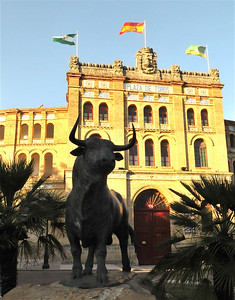 Toro infront of Plaza de Toros, Puerta de Santa Maria, Spain