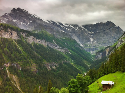 View down the valley in Gimmelwald