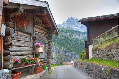 Local road through Gimmelwald town