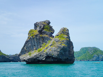 Boating by Monkey Island, Ang Thong National Marine Park, Gulf of Thailand