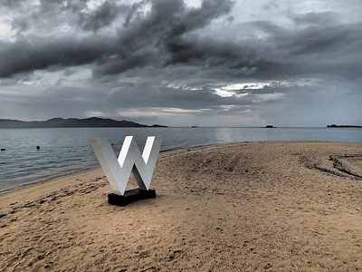 W on the beach