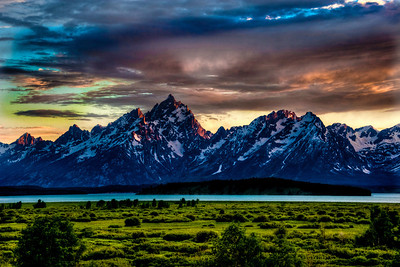 This is one of my all time favorite images!  The Grand Tetons at sunset.