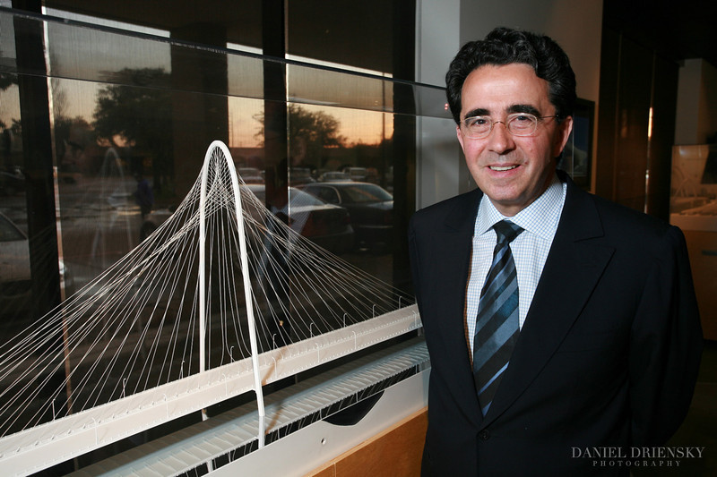 Santiago Calatrava, Spanish Architect/Structural Engineer, and his model of The Margaret Hunt Hill Bridge<br /> Photographed at Trinity Trust Resource Center, Dallas, TX<br /> Daniel Driensky © 2009