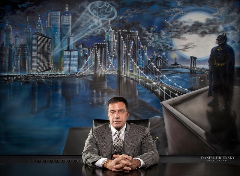 Joseph Palladino, Restaurant Entrepreneur/World's Biggest BATMAN Fan <br /> Location: Mr. Palladino's Office<br /> Photo © Daniel Driensky 2012 for Modern Luxury Dallas Magazine