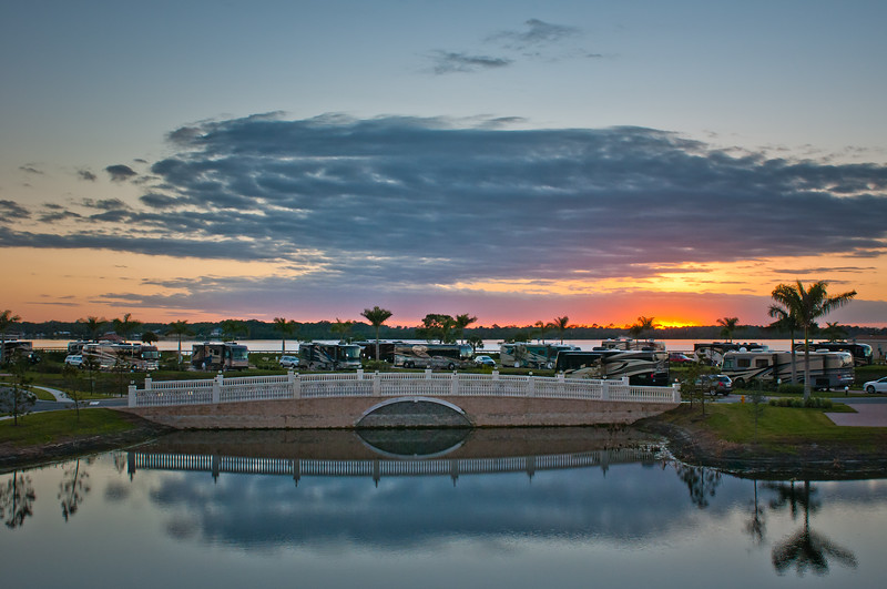 Sunset Over Myakka River And The Myakka River Motorcoach Resort