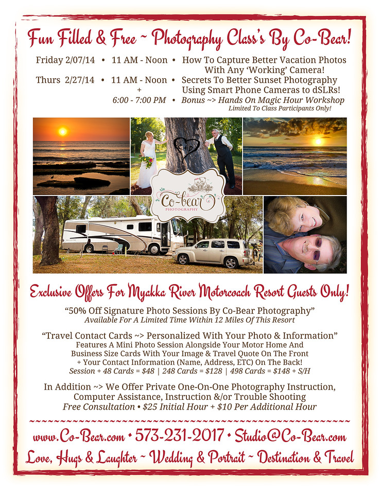 Fun Filled & Free Photography Class's + Exclusive Offers For Myakka River Motorcoach Resort Guest's!