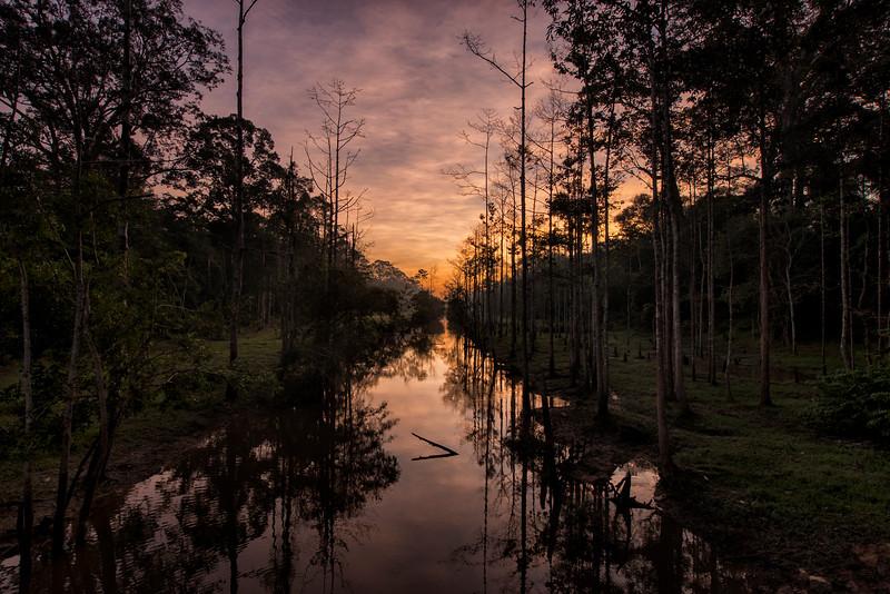 Sunrise at Angkor Thom Moat, Cambodia - 2015