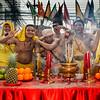 Shrine Carriers Giving Blessing at Hotel Offering Table, Phuket Vegetarian Festival, Thailand - 2015