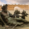 The Water Parterres, two large reflecting pools next to the palace of Versailles, are decorated with reclining bronze statues symbolizing the four great sea-going rivers of France.