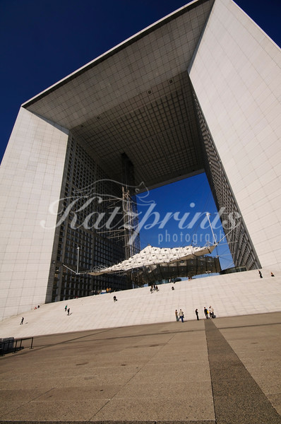 The Grande Arche, designed by a Danish team during a design competition in the 80s, is in the approximate shape of a cube with a length, height and depth of about 110 m.