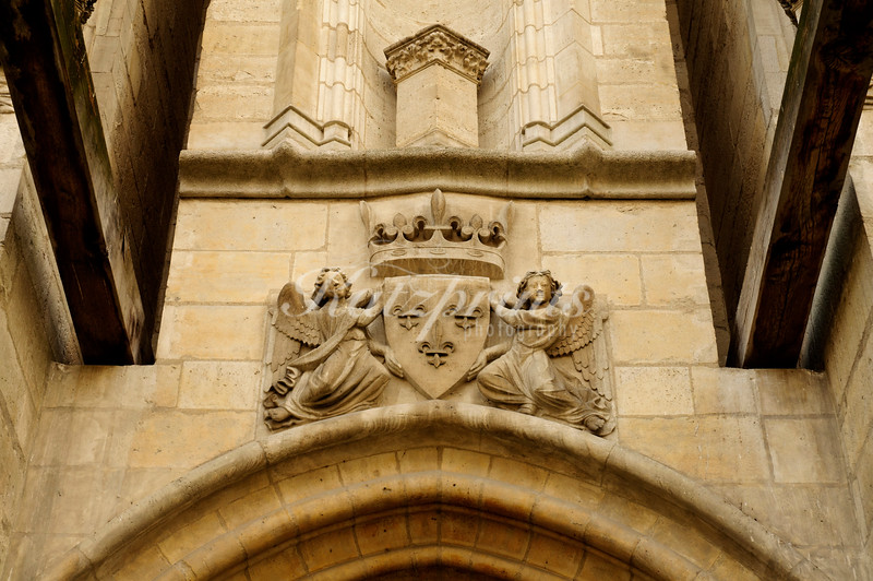 Detail above the village entrance to the French castle Château de Vincennes