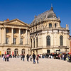 Visitors are lining up to see the famous Château de Versailles in France