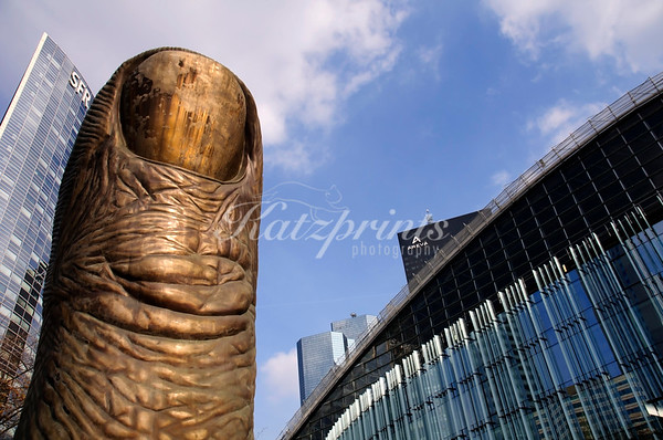 Le pouce (the thumb) is a famous sculpture by César Baldaccini in La Défense, Paris
