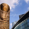 Le pouce (the thumb) is a famous sculpture by César Baldaccini in La Défense, Paris