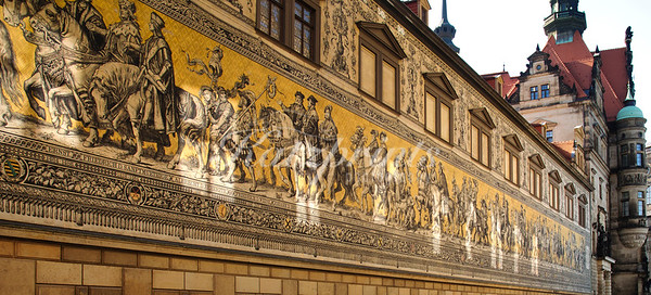 The Fürstenzug, a large mural made of Meissen tiles depicting a mounted procession of the rulers of Saxony
