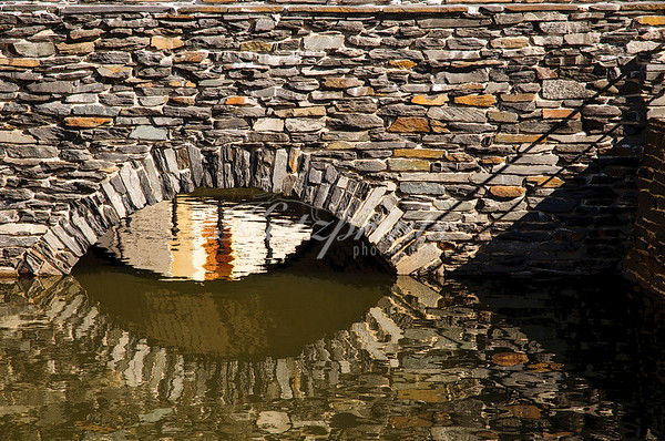 Moat bridge reflection