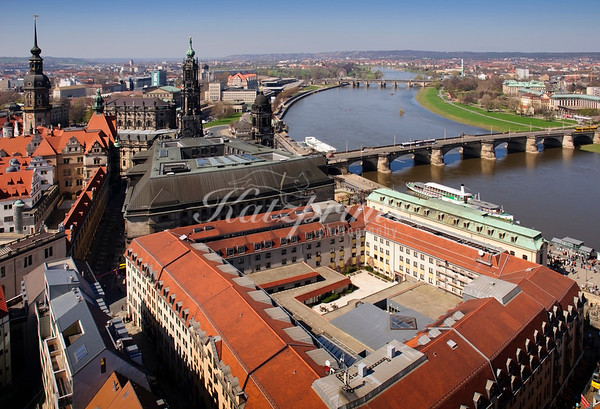 The river Elbe, Augustusbrücke, Hofkirche, and Residenzschloss as seen from the top of Dresden's famous Frauenkirche