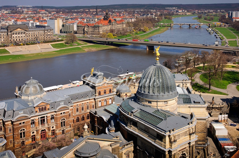 The river Elbe with two of its bridges and the Hochschule für Bildende Künste Dresden as seen from the top of the Frauenkirche