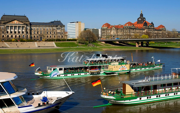 Historic paddle steamers on the river Elbe in Dresden