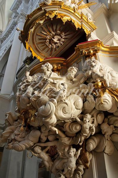 Rococo pulpit by Balthasar Permoser in Dresden's Hofkirche