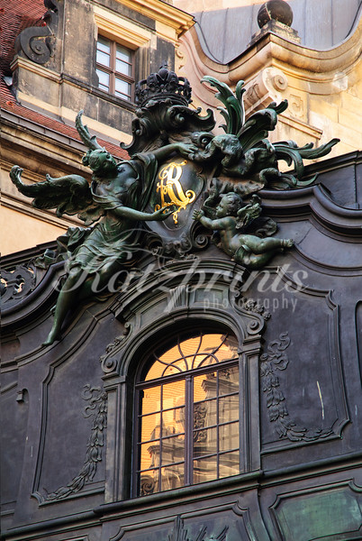 Detail of the bridge that connects the Residenzschloss and the Hofkirche in Dresden