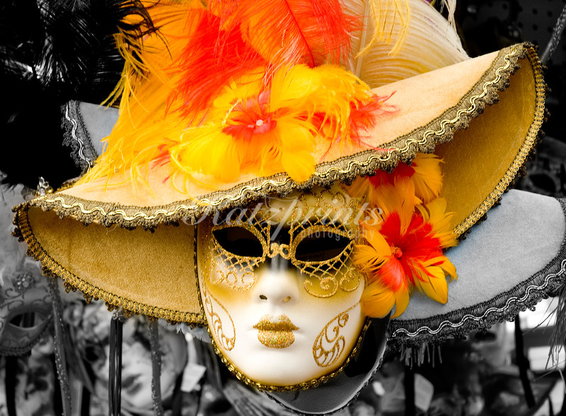 Use of selective color for Venetian carnival mask