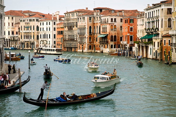 Mixed traffic on the Grand Canal in Venice