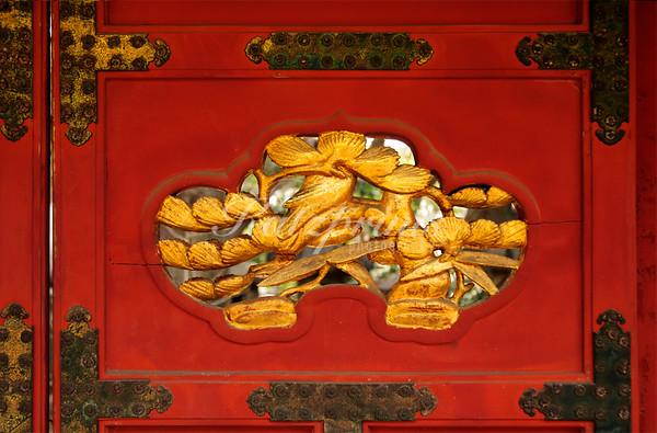 Detail of a door at Ueno Tōshō-gū shrine in Tokyo
