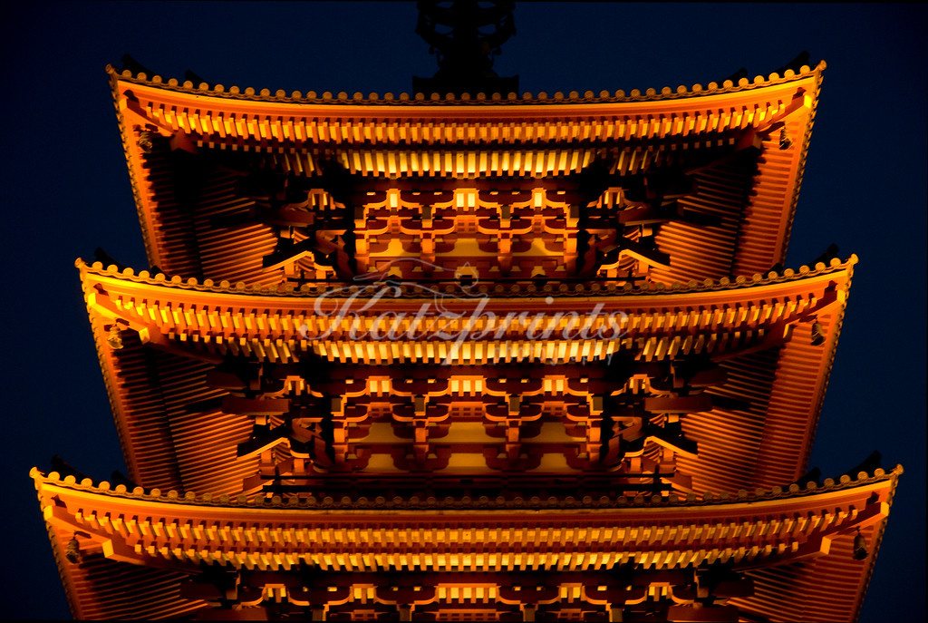 One of the most famous sights in Tokyo is the Sensō-ji temple in Asakusa. It is the oldest temple in Tokyo. Within the temple grounds stands a five-story pagoda, a detail of which is captured here.