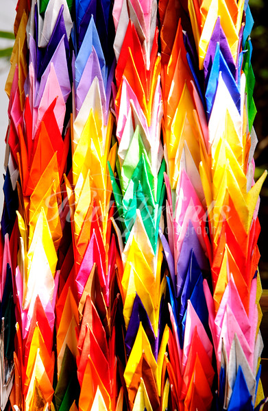 Colorful paper garlands at the Gojo shrine in Tokyo