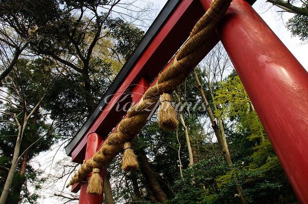The torii entrance to the Tsurugaoka Hachiman-gū shrine in Kamakura