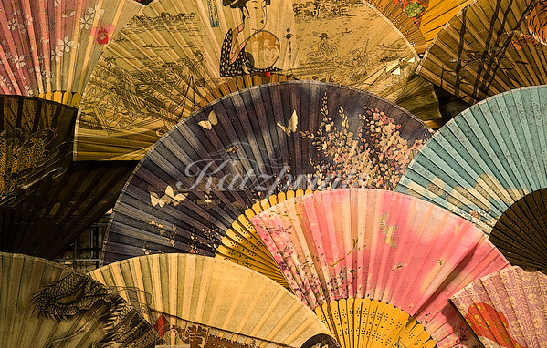 Japanese fans are displayed in the Senso-ji Temple area of Tokyo, Japan.