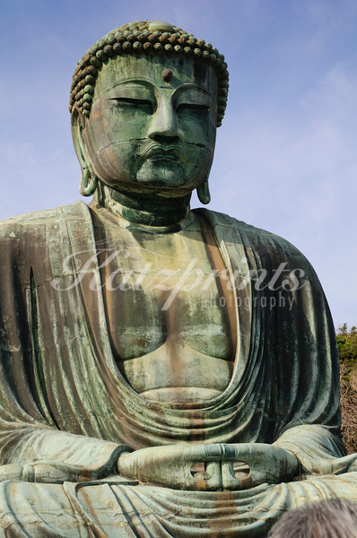 The Great Buddha of Kamakura is made of bronze; its dimensions are astonishing, an eye, for example, is one meter in length