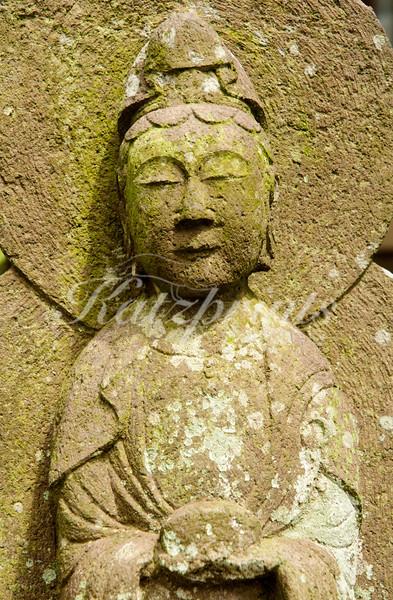Stone sculpture at the Engaku-ji temple in Kamakura