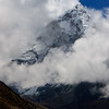 Ama Dablam in the morning clouds from our trek out of Pheriche