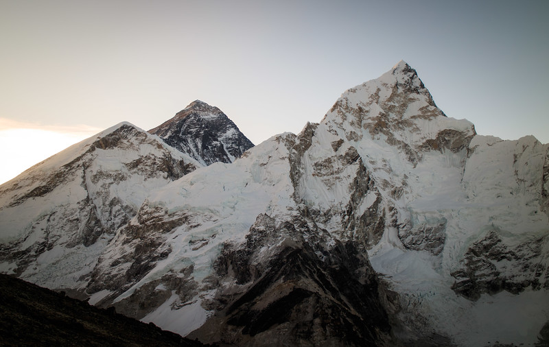 Views of Mt Everest (left) and Nuptse (right) from half way up Kala Patthar (5550m)