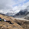 One of our Sherpas, Fura, lounging just before Gorak Shep