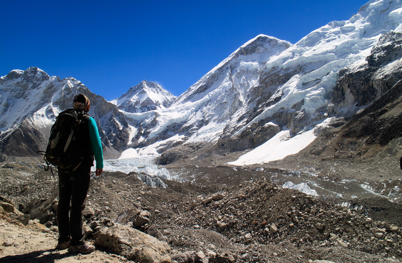 One of our Sherpas Passang looking out towards the ice falls of Everest from Gorak Shep