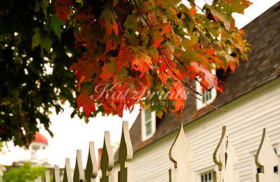 Colored leafs above white fence in the Canterbury Shaker village (founded 1792)  in New Hampshire