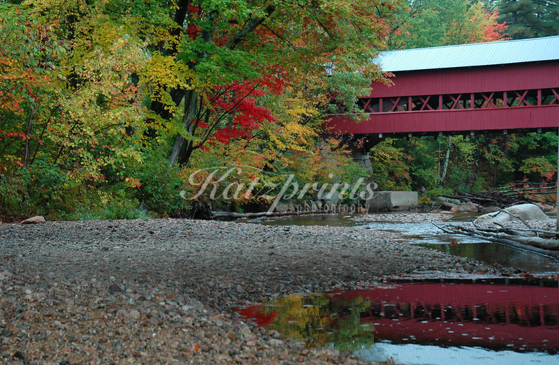 Reflection of the Swift river covered bridge (1869) in New Hampshire