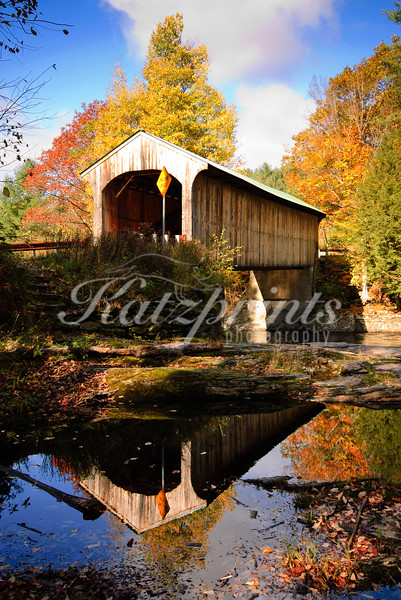 Autumn at the Montgomery Covered Bridge near Waterville, Vermont