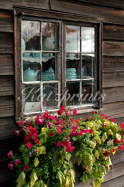 Flower display at an old building in Stowe, Vermont